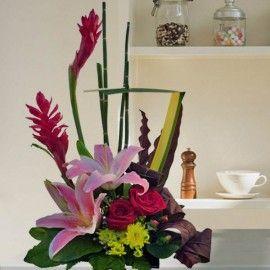 Ginger flower & Lily Table Arrangement