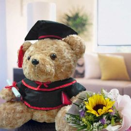 "13"" Graduation Bear & Sunflower Posy"