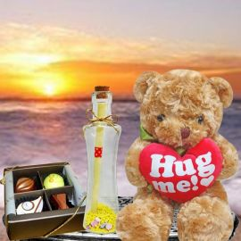 Message-in-a-Bottle, (Hug Me) Bear & Chocolate