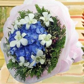 Hydrangeas W/Orchid Bouquet (Need 2 Days Avance Order)