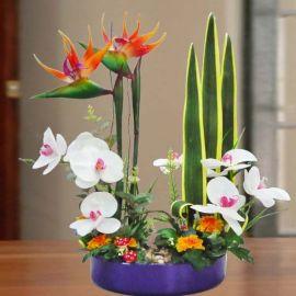Ikebana with Artificial Bird of Paradize & flowers 50cm Height