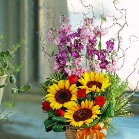 Matthiola & Sunflowers Table Arrangement