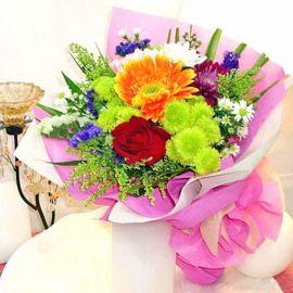 Mixed Flower, Rose, Chrysanthemum & Gerbera Handbouquet