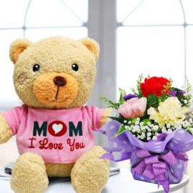 (Mom i Love You) Bear & 3 Mixed Carnations Standing Bouquet