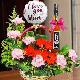 Carnation, Balloon & Honey Hamper