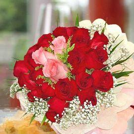 24 Roses Handbouquet (3 Peach 21 Red)