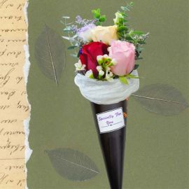 Ice Cream Cone 3 Mixed Roses Bouquet.
