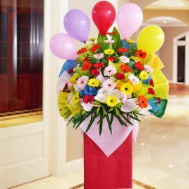 Mixed Gerbera Flower On Box Stand 6 feet height.