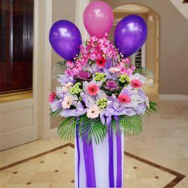 Artificial Orchids, Cabbage Flowers & Gerbera Opening Flower Arrangement