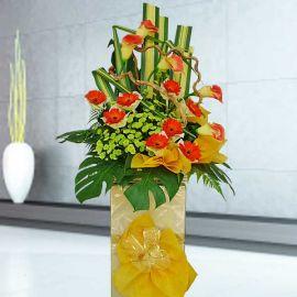 Artificial Orange Calla Lily & Fresh Gerbera Flower Opening Stand Arrangement
