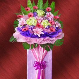 Artificial Hydrangeas & Lilies With FRESH Flowers Gerbera Grand Opening Flowers Stand