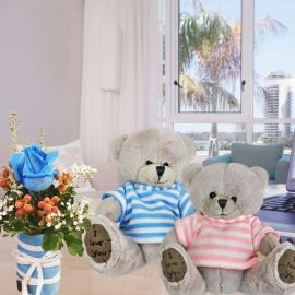 15cm Couple Bear With Blue Rose Standing Bouquet