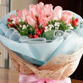 24 roses Peach color hand bouquet