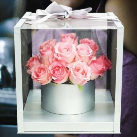 24 Peach Roses In A Nice Gift Box