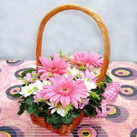 Pink Gerbera & Daisy In Basket