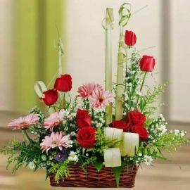 Pink Gerbera & Red Roses Flowers Table Arrangement