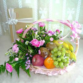 Pink Carnation And Fruits Basket
