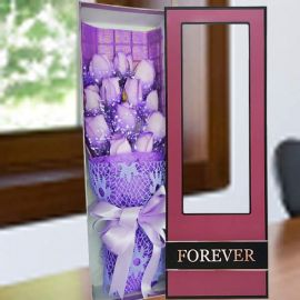 12 Purple Roses In Gift Box