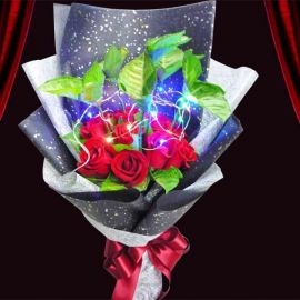 LED Light in 12 Red Roses With Syngonium Foliage Special Bouquet.