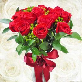 16 Red Roses In Glass Vase