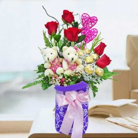 5 Roses, 5 Lollipop Candies, 3 Ferrero Rocher & 2 Mini Bears