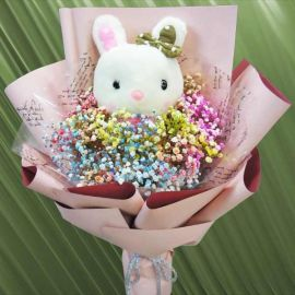 Rainbow Baby's Breath & 20cm Bunny Hand Bouquet