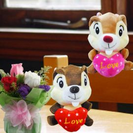 16cm Stuffed Squirrel ( Choose One Color Only ) & Roses Standing Bouquet