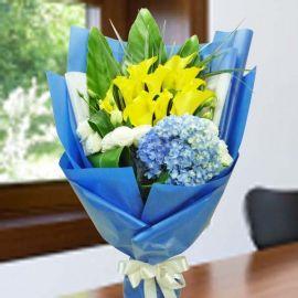 Yellow Calla Lily & Hydrangea Hand Bouquet