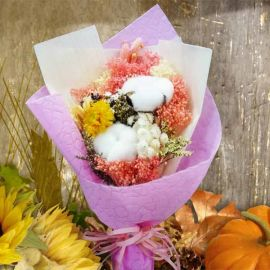 Cotton Flowers & Dried Flowers Small Hand Bouquet