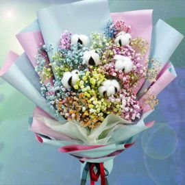 6 Cotton Flowers With Rainbow Baby Breath Hand Bouquet