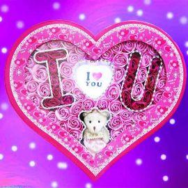 I Love U ( LED Light ) Handmade Rose Soap & Bear In Heart-Shape Box
