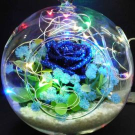 Blue Roses in Round Glass Bowl With Colorful LED Light