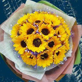 18 SOAP Sunflower HandBouquet ( Flowers Made By Soap )