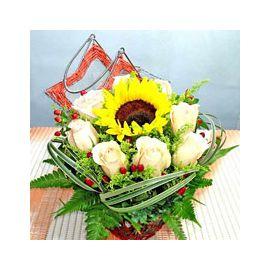 Sunflower And Champagne Rose Basket Arrangement