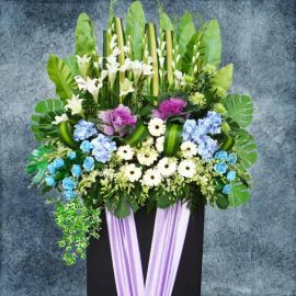 White Lily Deepest Sympathy Flowers Stand 6 Feet Height
