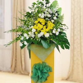 Green Orchids & Yellow Pom Condolence Flowers Delivery