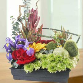 Iris & Roses Table Arrangement