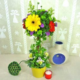 Gerbera Flowers Topiary Table Arrangement