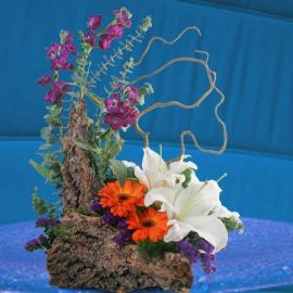 White Lily & Gerbera Fresh Flowers Arrangement