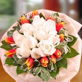 10 (2Tone Yellow/Red ) Tulips & 10 White Roses Hand Bouquet
