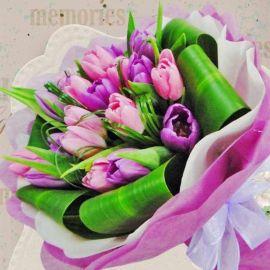 10 Purple & 10 Pink Tulip HandBouquet