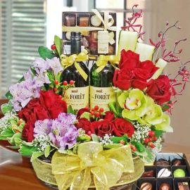 Wines, Chocolates & Red Roses Basket Arrangement