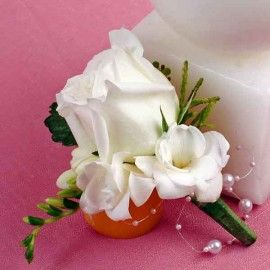 White Rose & Freesia Corsage ( Add-On Only, No Delivery }