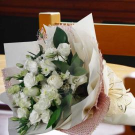 12 White Roses & White Chrysanthemum Hand Bouquet