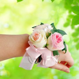 Artificial Champagne & Pink Roses Wedding Wristlet