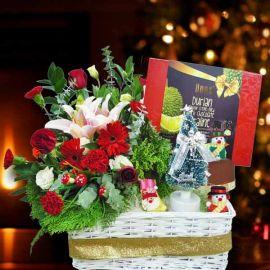 Fresh Flower Arrangement with Chocolate & Christmas Tree
