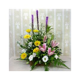 Yellow Gerbera and Pink Lilies Table Arrangement